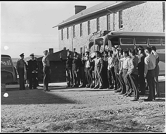 First 29 Navajo U.S. Marine Corps code-talker recruits being sworn in, from the Records of the Bureau of Indian Affairs, 1793 - 1999