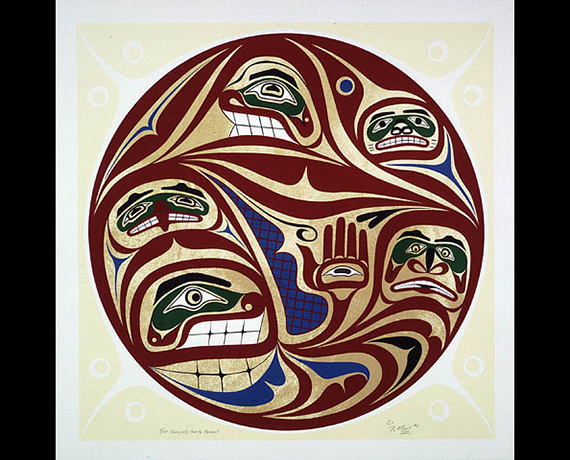 Kwagiutl Family Portrait (1991) by David Neel, from Library and Archives Canada